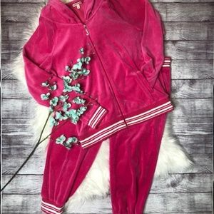 JUICY COUTURE Pink Velour Jogger Warm Up Set